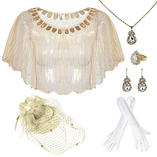 1920s Vintage Style Cape Jacket Embellished Bridal Shawl Capelet Flapper Bolero Cover Up Gatsby Party - gold - One Size