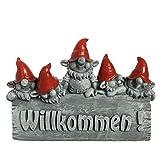 Süßes Willkommen Schild mit Wichteln - Gartenfiguren für außen - Gartenzwerg, Gnom, Troll (Rot)