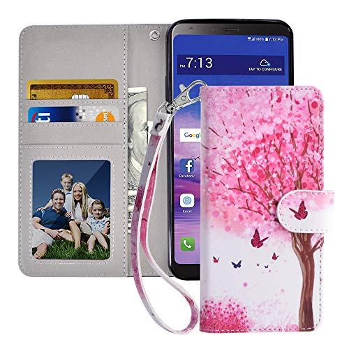 MagicSky LG Stylo 4 Hülle, LG Stylo 4 Plus Wallet Hülle, LG Q Stylus Premium PU Leder Flip Folio Handyhülle mit Handschlaufe, Kartenhalter, Bargeldfach, Ständer für LG Stylus 4, Rosa Baum