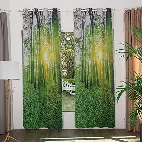 Verdunkelungsvorhänge Ösen Thermo Vorhang für Sonnenschutz & Sichtschutz Gardinen Schals Grün Vorhang mit Wald Motiv Schlafzimmer Wohnzimmer Forest (1er-Set, 175x130cm)
