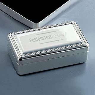 Double Velvet Silver Jewelry Box with Engraved Message | Personalized Jewelry Box for Women | Trinket Organizer to Store Earing, Ring, Necklace | Gifts for Her
