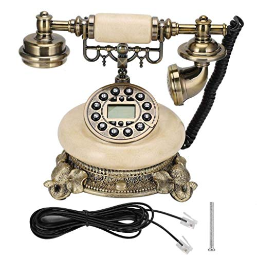 MYYINGBIN Teléfono Fijo Retro con Cable con Base De Elefante con Función De Retroiluminación De Pantalla De Llamada De Llamadas Manos Libres Decoración Antigua para Home Office Hotel