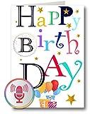 PlayMegram Tarjeta de cumpleaños con audio, grabación de 1 minuto y reproducción mediante un botón, para mensajes de voz y música, regalo creativo