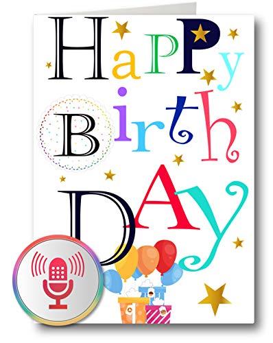 PlayMegram besprechbare Audio Geburtstagskarte, 1 Minute Aufnahme und Wiedergabe per Knopfdruck, Für Sprachnachrichten und Musik, Kreative Geschenkidee
