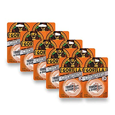 """Gorilla Tough & Clear Double Sided Mounting Tape, 1"""" x 60"""", Clear, (Pack of 10)"""