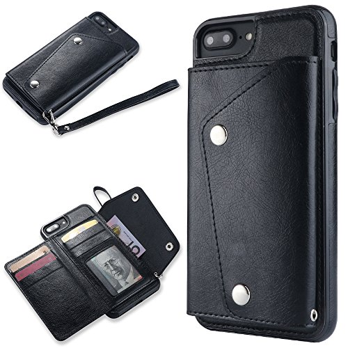 ZCXG Kompatibel mit Handyhülle iPhone 7 Plus/iPhone 8 Plus Hülle Leder Schwarz Hülle Silikon Schutzhülle mit Kartenfächer Dünn Tasche Herren Geldbörse Damen Cover