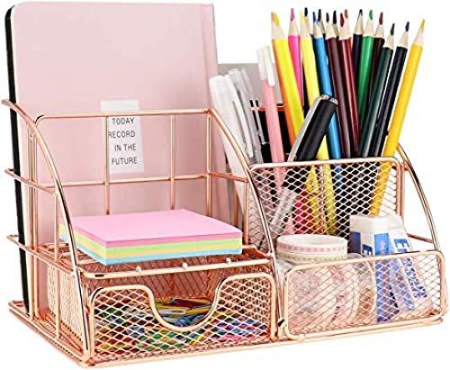 WEIXIA Organizador de escritorio, organizador de oficina en oro rosa con bandeja para cartas, soporte para bolígrafos, organizador de documentos y cajón, de metal para oficina, escuela y hogar