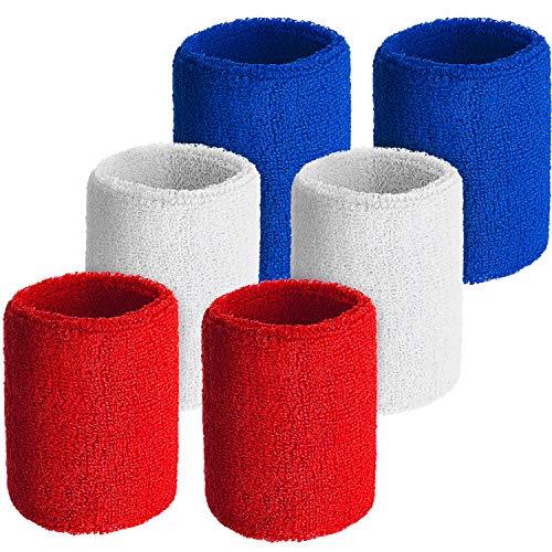 Schweißbänder für das Handgelenk, für Fußball, Basketball, Laufen, athletische Sportarten (rot, weiß, blau), 6 Stück