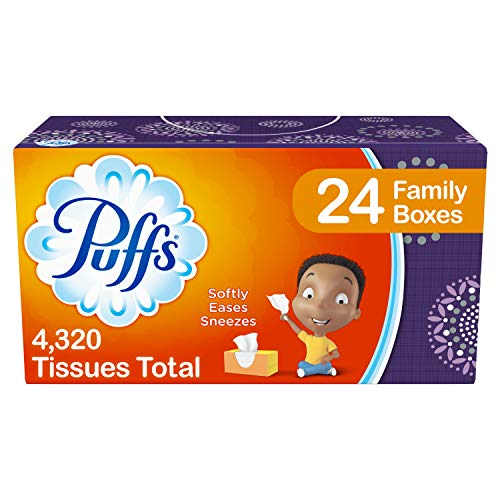 Puffs, Everyday Non-Lotion Facial Tissues, 24 Family Boxes, 180 Tissues per Box (4320 Tissues Total)