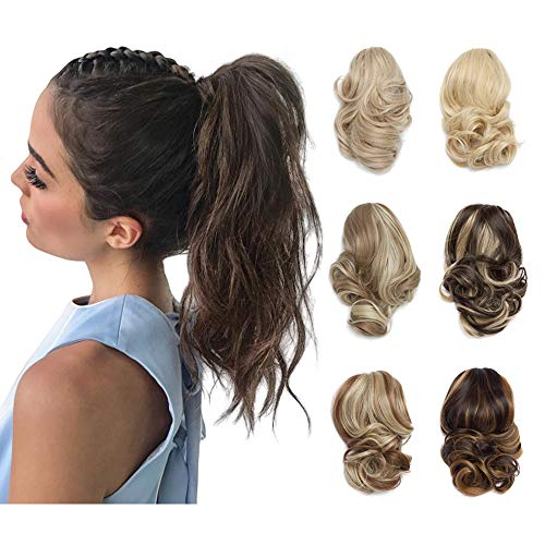 "12"" Short Curly Claw Ponytail Extension Clip In On Hairpiece With Jaw/Claw Synthetic Fluffy Pony Tail One Piece(12""curly,light brown)"