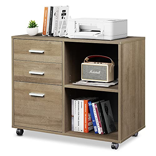 DEVAISE 3-Drawer Wood File Cabinet, Mobile Lateral Filing Cabinet, Printer Stand with Open Storage Shelves for Home Office, Gray Oak