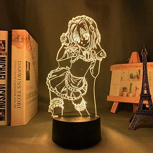 GEZHF DxD Koneko Toujou Luz de noche LED para decoración de dormitorio Luz de noche Regalo de cumpleaños Anime Lámpara 3d Koneko Toujou High School DxD 16 colores