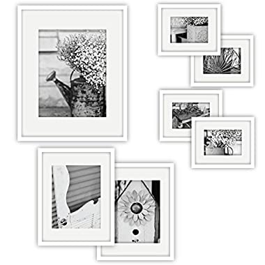 Gallery Perfect 7 Piece White Photo Frame Wall Gallery Kit. Includes: Frames, Hanging Wall Template, Decorative Art Prints and Hanging Hardware