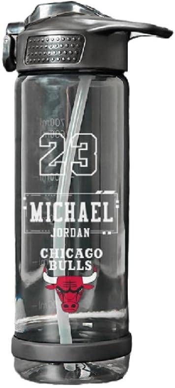 SDGSDG Protección del medio ambiente Botella deportiva sin BPA/Botella de agua para drogas basketball-Black 7-Jordan_750ml/ Botella de agua deportiva para gimnasio, viajes, oficina y hogar.