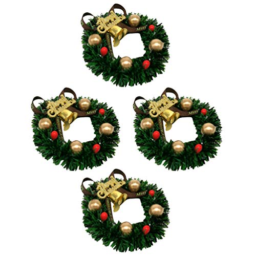 BESPORTBLE 4pcs Christmas Candle Rings Mini Christmas Wreath Ornament 6CM Decoorated Wreath Xmas Candlestick Decoration for Holiday Dinner Table Decor