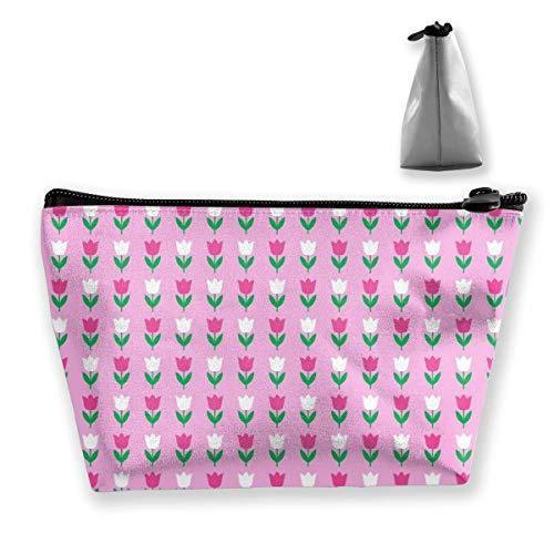 Sacs cosmétiques pour femme avec tulipe rose et blanc - Multifonction - Organiseur de toilette - Trousse portable à main - Capacité de lavage de voyage - Avec fermeture éclair (trapézoïdale)