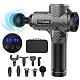 Fitalps Muscle Massage Gun, Deep Tissue Percussion 30 Speed Massage Gun for Athletes, Super Quiet Brushless Motor Portable Body Massager helps Relieve Muscle Soreness and Stiffness with 9 Attachments