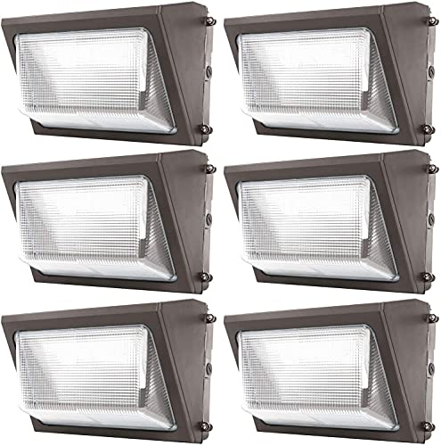 Sunco Lighting 6 Pack 120W LED Wall Pack, Daylight 5000K, 12000 LM, HID Replacement, IP65, 120-277V, Bright Consistent Commercial Outdoor Security Lighting - ETL