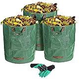 VEYFUN 3-Pack 300L Gallonen wiederverwendbare Gartenabfall-Säcke- Heavy Duty Gartenarbeit Säcke, Rasen-Säcke, wiederverwendbare Mülleimer, Laub-Säcke, Yard Waste Bags mit 4 Griffen