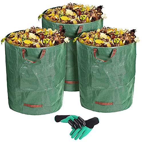 VEYFUN 3-Pack 300L Gallonen wiederverwendbare Gartenabfall-Säcke- Heavy Duty Gartenarbeit Säcke, Rasen-Säcke, wiederverwendbare Mülleimer, Laub-Säcke, Yard Waste Bags mit...