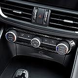 Fibra de carbono para Giulia Stelvio 2016 2017 2018 ABS cromado centro aire acondicionado ajuste marco triple coche accesorio