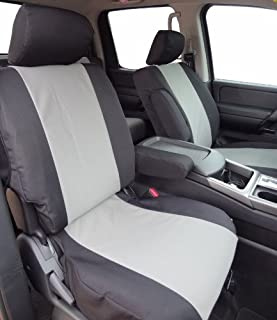Exact Seat Covers, NS4 C1/X7, Custom Fit Seat Covers Designed For 2005-2009 Nissan Titan Crew Cab Front Captain Chairs with Side Impact Airbags, Electric Driver Side Controls and Lumbar Lever. Rear 40/60 Bench Seat with Fold Down Armrest. Black Endura with Gray Twill Inserts