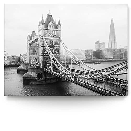 BilderKing Intensiv & Impostant 200x150cm großes Leinwand-Bild. London s/w, Tower Bridge als Wandbild auf 4cm tiefen Keilrahmen. Eindrucksvoller können Sie Ihren Raum Nicht in Szene setzen