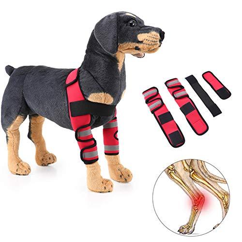 lffopt Vendas Perro Rodillera Perro Cuidado de articulaciones para Perros Pata de Perro Vendaje Soporte de articulaciones para Perros Reflective-Red,s