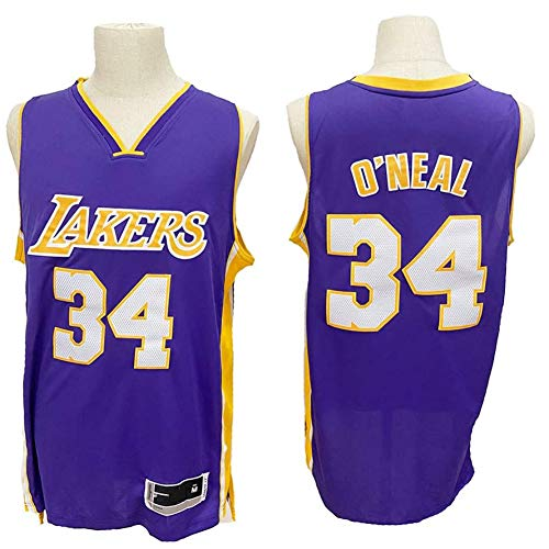 QQA Shaquille O'Neal # 34 Lakers Team Jersey All Star Classic Trikot Cool atmungsaktiv Mesh Unisex Basketball-Sweatshirt,L