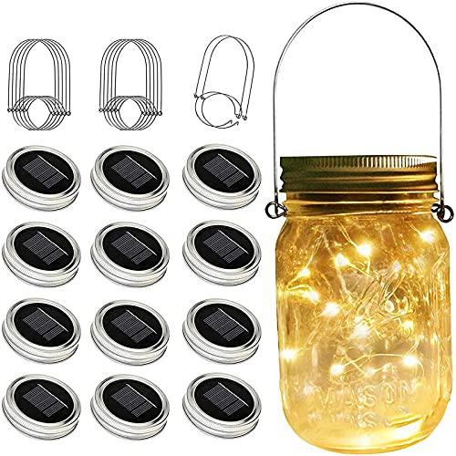 Mason Jar Solar Lights, 12 Pack 30 LED Fairy String Lights with (12 Hangers and 3 PVC) Best Mason JarDecor for Courtyard,Garden,Patio,Yard,Family,Party,Birthday,Wedding, Decoration(No Jars) Warm White
