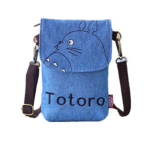 Double Villages Crossbody Totoro Taschen Segeltuch Klein Niedlich Zelle Brieftasche Tasche Telefon Geldbörse mit Schulter Gurt Münze Geldbörse (Blau)