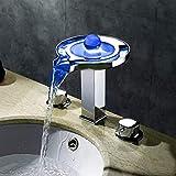 Yaeele Tres orificios de la lámpara LED de tres colores grifo del lavabo de baño Ware mixto caliente y fría del grifo de la Cuenca Hermosa práctica