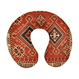 Alfombra Persa Vintage con Textura de Vector Tribal en Forma de U de Espuma viscoelástica para Viaje, Almohada para el Cuello, Almohada para el Cuello y la Cabeza para avión, Coche, Oficina, Dormir