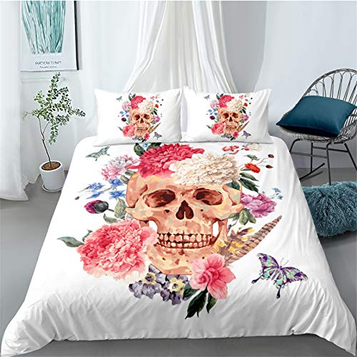 YYSZM Bedding Home Textiles 3D Skull Head Microfiber Fabric Is Soft And Comfortable, Easy To Clean 3 Piece Set 1 Quilt Cover 2 Pillowcase