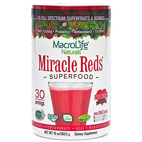 MacroLife Naturals Miracle Reds Superfood Powder  19 AntioxidantRich Fruits amp Berries Polyphenols Enzymes Probiotics  Raw NonGMO Organic Vegan GlutenFree DairyFree  10oz 30 Servings
