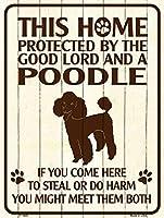 Smart Blonde ビンテージ風 英語版 おしゃれな 猛犬注意の看板 プレート 犬がいます 屋外OK 錆びないアルミ製 (レギュラー (23x30.5cm), プードル)