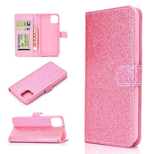BAIYUNLONG Funda para iPhone 12 Mini Glitter Powder Horizontal Flip Funda de piel con ranuras para tarjetas, soporte y marco de fotos, cartera y cordón (color rosa