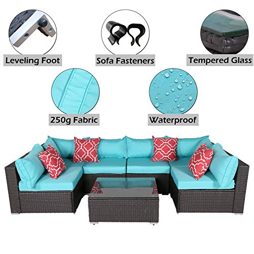 Do4U Patio Sofa 7-Piece Set Outdoor Furniture Sectional All-Weather Wicker Rattan Sofa Turquoise Seat & Back Cushions, Garden Lawn Pool Backyard Outdoor Sofa Wicker Conversation Set (Turquoise)