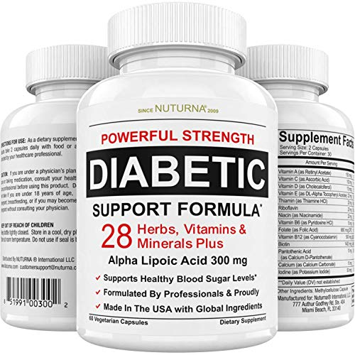 Diabetic Support Supplement - 28 Vitamins Minerals & Herbs with 300 mg Alpha Lipoic Acid Formula for Blood Sugar & Extra Energy Support - Diabetes Nutritional Supplement for Men & Women 30 Day Pack