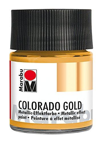 Marabu 12640005784 - Metallic Effektfarbe, Colorado Gold metallic gold 50 ml, auf Wasserbasis, lichtecht, wetterfest, schnell trocknend, zum Pinseln und Tupfen auf saugenden Untergründen