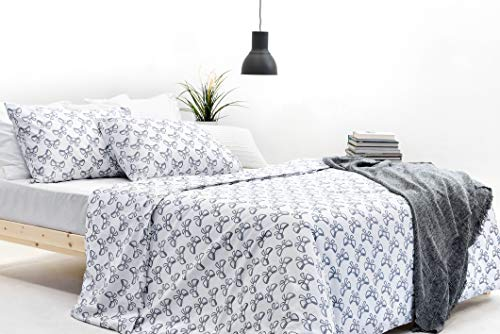 Marsala Home  Grey Double Bedding Bed Duvet Cover Set 100% Cotton Grid Pattern Bow Knot Printed 3 Pcs with Pillowcases Quilt Cover Set (Grey Knots Double Size)