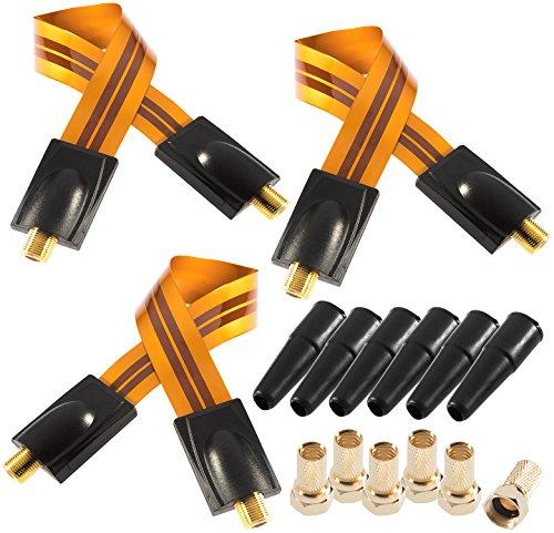 Preisvergleich Produktbild Poppstar 3X 28cm SAT Fensterdurchführung (0, 2 mm Fensterdurchführung SAT Kabel sehr flach),  6X F-Stecker,  6X Gummitülle,  vergoldete Kontakte,  orange