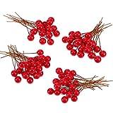 BBTO Berries Houx Artificiels, 100 Pièces Mini 10 mm Fake Berries Décoration sur Fil pour la Décorations d'Arbres de Noel Couronne de Fleurs Utilisation Artisanale Bricolage (Rouge)