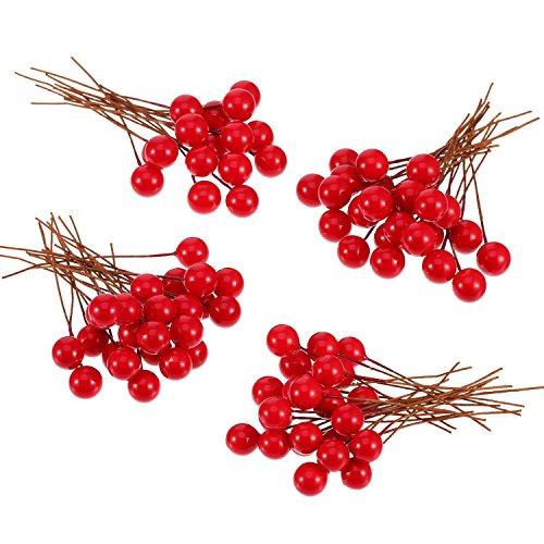 Bayas de Acebo Artificiales, 100 Piezas Mini 10 mm de Bayas Falsas Adornos en Alambre para Decoraciones de Árbol de Navidad DIY de Corona de Flores Manualidades (Rojo)