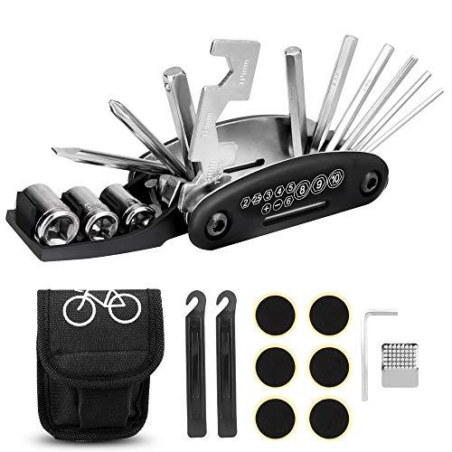 Sporgo Fahrrad Multitool,Fahrradwerkzeug 16-in-1-Multifunktions-Reparatursatz mit Karabiner Haken,2 Extra Reifenheber,Ventile und Ventiladapter,Selbstklebendes Fahrradflicken,Aufbewahrungstasche (16)