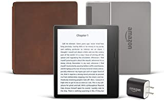 Kindle Oasis Essentials Bundle including Kindle Oasis (Graphite), Amazon Premium Leather Cover, and Power Adapter