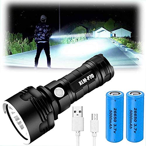 Linterna LED XLM-P70 - Linterna de alta potencia de 30000-100000 lúmenes, Linterna impermeable brillante de 3 modos, Linterna recargable USB, Linterna de mano fuerte (50 W XLM-P70, Double Battery) ✅