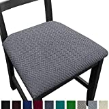 NORTHERN BROTHERS Seat Covers for Dining Room Chairs Stretch Chair Seat Covers Removable Dinning Kitchen Chair Seat Cushion Slipcovers (Set of 4, Gray)