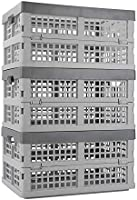 Ucake 16 Litre Fold Flat Crate Storage Collapsible Crate Folding Plastic Crates for Storage, Light Grey Body and Grey...
