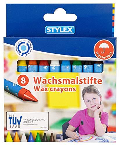 Stylex 25028 Wachsmalstifte für Kinder, 8 Farben, wasserfest, mit Papierbanderole für saubere Finger, ideal für Kindergarten, Schule und Zuhause, bunt